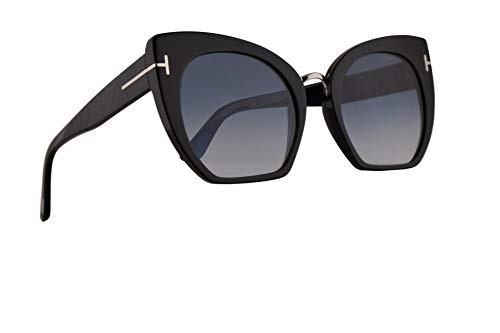 Tom Ford FT0553 Samantha-02 Sunglasses Shiny Black w/Blue Gradient Lens 55mm 01W FT553 TF 553 ()