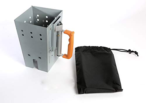 - CampMaid- Portable Charcoal Grill Chimney Starter Perfect Addition for BBQ Grill Sets, Heat Charcoal in Minutes.