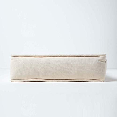 HOMESCAPES Coussin de Chaise Crème matelassé avec Boutons capitonnés de 40 x 40 x 10 cm