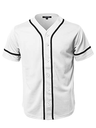 Youstar Camouflage Or Solid Front Button Closure Athletic Baseball Inspired Jersey Top White S