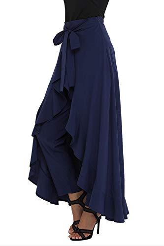 Irrégulière Casual À Jupe Swing Bowknot Femmes Bleu Pantalon Volants rWQCdxBoe