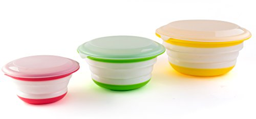 Fasmov Silicone Collapsible Storage Bowls with Lids-Set of ()