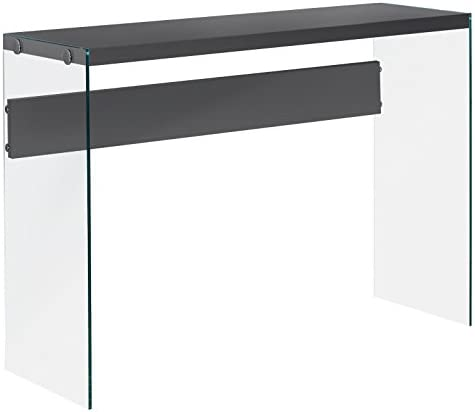 Monarch specialties , Console Sofa Table, Tempered Glass, Glossy Grey , 44 L