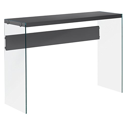 Hollow Console - Monarch Specialties I 3294, Console Sofa Table, Tempered Glass, Glossy Grey, 44