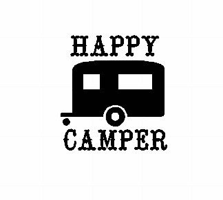 Happy Camper Decal Vinyl Sticker|Cars Trucks Vans Walls Laptop| BLACK |5.25 x 5.5 in|CCI932