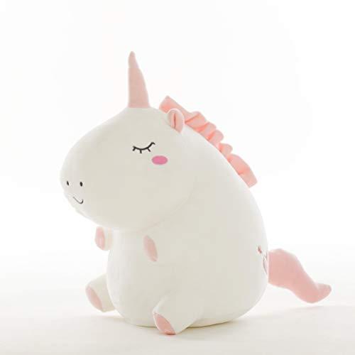 Soft Adorable Plush (Chubby White Unicorn Plush Pillow Soft Stuffed Animal Play Doll Baby Hugging Toy Sleeping Bolster Pet Throw Pillow Bed Sofa Nap Cushion Nursery Office Home Decor Gift)
