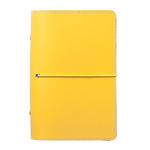 Labon's 6 Round Ring Binder Hardcover Refills Planner for Monthly Weekly Daily Schedule / 2018 2019 2020 Calendar / Telephone & Address / Personal Memo 260 Pages Premium Thick Paper (A6, Yellow)
