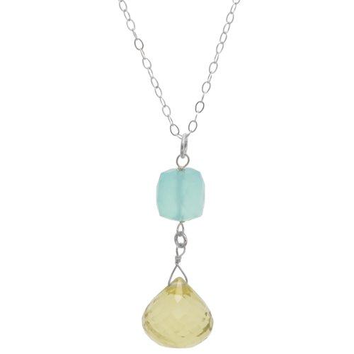 Aqua Quartz Briolette Necklace - ASHANTI Ashanti Sterling Tangy Lemon Quartz Briolette and Aqua Chalcedony Gemstone Sterling Silver Handmade 18 inch Necklace