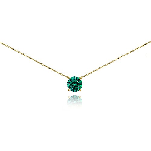 (Yellow Gold Flashed Sterling Silver Blue Zircon Solitaire Choker Necklace set with Swarovski Crystal)