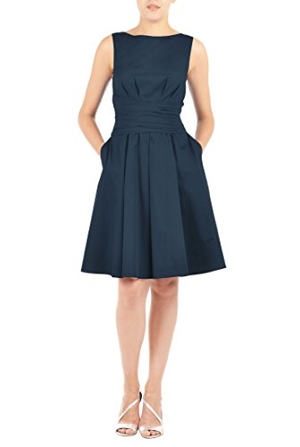 eShakti Women's Jasmine dress XS-0 Tall Deep navy