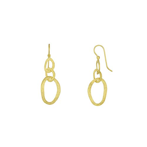14k Yellow Gold Textured Oval Mixed Links Earrings