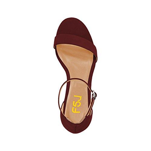 Fsj Vrouwen Zomer Ankle Strap Sandalen Open Teen Dikke Lage Hak Comfortabele Wandelschoenen Grootte 4-15 Ons Wijn-matte