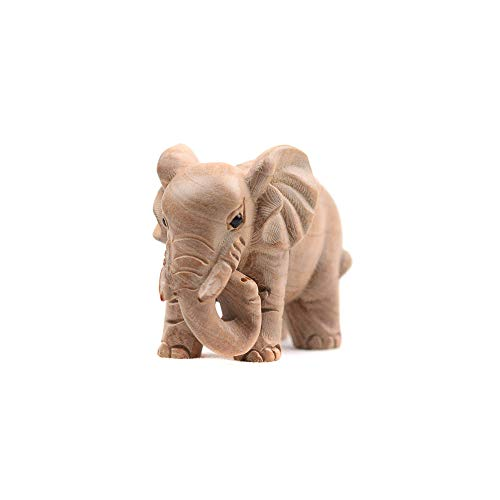 Kansoo 1PCS Wooden Small Size Elephant Statue Wood Carved Figurine Home Decorations (Figurine Wooden Elephant)