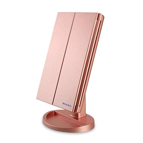 WEILY Lighted Makeup Mirror, Tri-fold Vanity Mirror with 1X/2X/3X Magnification Mirrors, 21 Natural LED Nights and Touch Screen, Chargeable Travel Cosmetic Mirror for Desktop (Rose Gold)