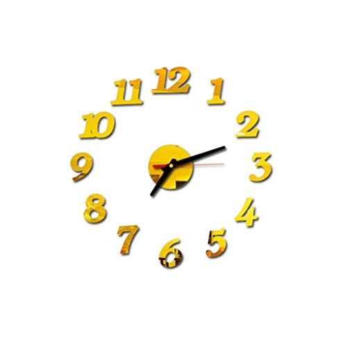 Konxxtt Solid Color Wall Stickers Clock, 3D DIY Numbers Acrylic Mirror Wall Decals Home Decor(Gold,Diameter 15.7