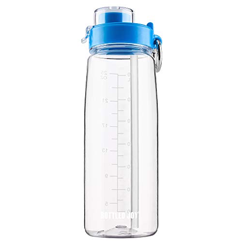 BOTTLED JOY Water Bottle with Flip-Top/Silicone Straps/Handle (Optional), BPA-Free Wide Mouth Tritan Sports Bottle, Spill and Leak Proof Drinking Bottle 800ml 28 Ounce (Clear with Flip-Top)