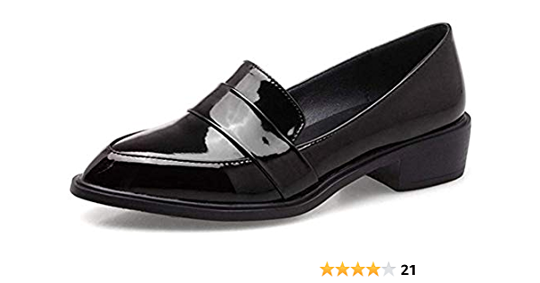 Details about  /ladies Womens Patent Leather Flat Heels court Pointy Toe Shoes Slip On Loafers