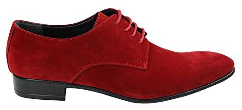 Rouge Italien Cuir Suédé Chaussures Lacets Homme Simili Tamboga Noir Formel En Style ZnFq41xAw