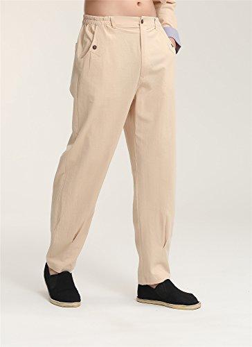 Kung Fu Chi Homme Coton Acvip De Pantalon Chanvre En Tai Long Beige zvqqUwx1