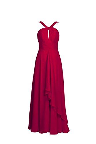 YiYaDawn Langes Abendkleid Partykleid Ballkleid für Damen Weinrot ...