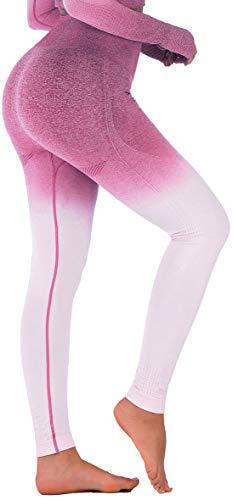 RUNNING GIRL Ombre Seamless Gym Leggings Power Stretch High Waisted Yoga Pants for Women Running Workout Leggings(2050 Purplish,L)