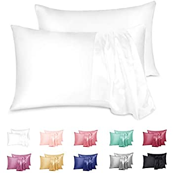 Duerer 2 Pack Satin Pillowcases Cool and Easy to Wash for Hair and Skin with Envelope Closure(20