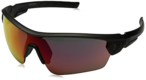 Under Armour Ua Rival Wrap Sunglasses, Gray/Red, 65 mm