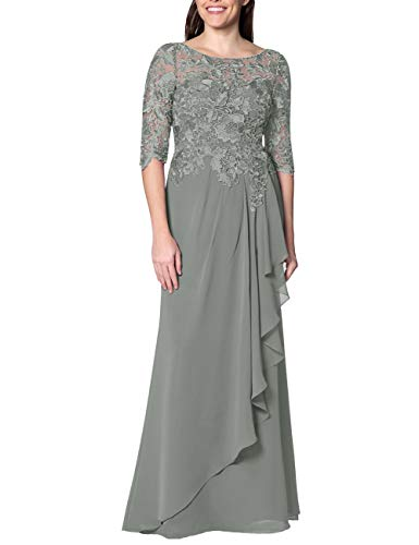 (EDressy Chiffon Mother of The Bride Dresses Long Evening Formal Gowns Flora Lace Prom Party Dress Half Sleeves Steel Grey US12)