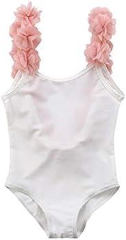 Baby Girls One Piece Swimsuit Backless Bathing Suit Toddler/Newborn Swimwear Floral Suspenders Romper Rashguar