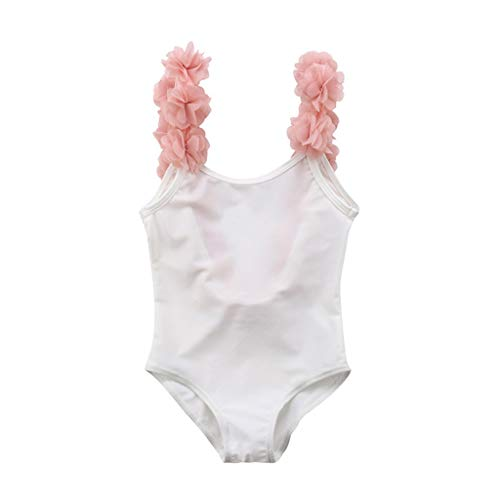 Kids Baby Girls Sleeveless Summer Stitching Sling Floral Backless One-Piece Swimsuit-Waymine White