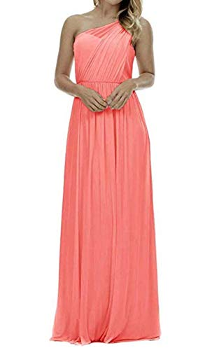 Future Girl Women's Long One Shoulder Bridesmaid Dress Asymmetric Prom Evening Gown Coral,10