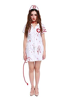 GoLoveY Women's Zombie Head Nurse Blooded White Halloween Outfit