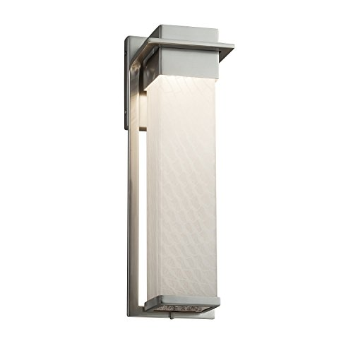Fusion - Pacific Large LED Outdoor Wall Sconce - Artisan Glass Shade in Weave - Brushed Nickel Finish