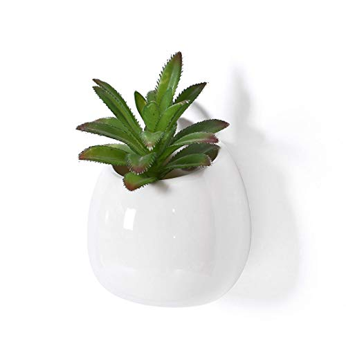 Earthenware Planter - GAQUNH 4 Inch White Ceramic Wall Mounted, Small Flower Plant Vase, Modern Round Earthenware Succulent Planter Pots