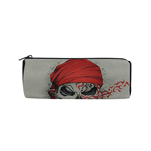 Human Skulls with Flowers for Holiday Students Super Large Capacity Barrel Pencil Case Pen Bag Cotton Pouch Holder Makeup Cosmetic Bag for Kids