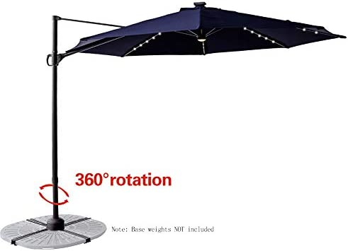 FLAME SHADE 10 ft Cantilever Offset Outdoor Patio Umbrella with Solar LED Lights and Tilt – Navy Blue