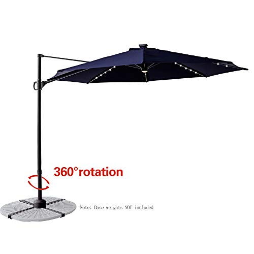 Aluminum Tilt Offset Umbrella - FLAME&SHADE 10' Offset Hanging Cantilever Market Umbrella with Solar LED Lights and Tilt for Outdoor Balcony Outside Patio, Navy Blue