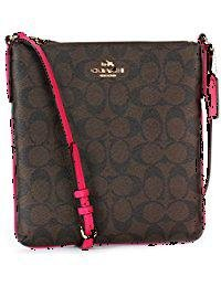 Coach Signature N/S Crossbody - Brown/Pink Ruby