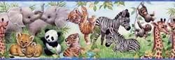 Chesapeake BYR83001B Flemming Jungle Pals Portrait Wallpaper Border, Green (Wallpaper Babies Border Jungle)