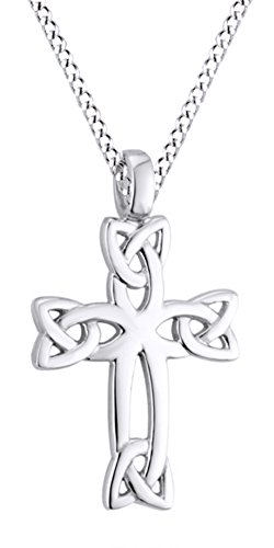 (Jewel Zone US Celtic Cross Pendant Necklace 14k White Gold Over Sterling Silver)