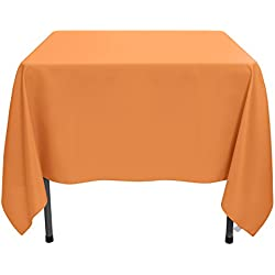 VEEYOO 85 inch Square Solid Polyester Tablecloth for Wedding Restaurant Party Coffee Shop Picnic Christmas, Orange
