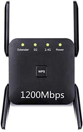 WiFi Range Extender, 1200Mbps Wireless Signal Repeater Booster, Dual Band 2.4G and 5G Expander, 4 Antennas 360° Full Coverage, Extend WiFi Signal to Smart Home & Alexa Devices(KW1203M02)