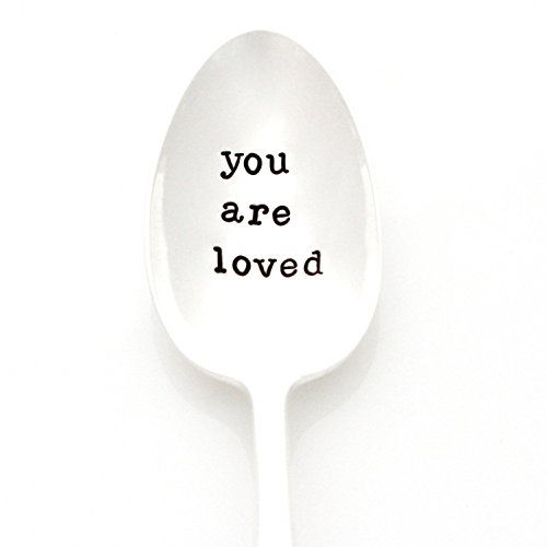 You Are Loved, Stamped Spoon. Hand Stamped Vintage Tea Spoon by Milk & Honey. Part of the Martha Stewart American Made Market.