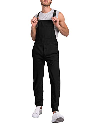Makkrom Mens Relaxed Fit Denim Bib Overall Strappy Lightweight Dungaree Jumpsuit Romper