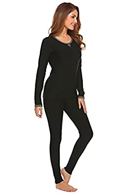 Ekouaer Womens Slimming Long Thermal Underwear Set Cotton Round Neck Top & Bottom Pajama