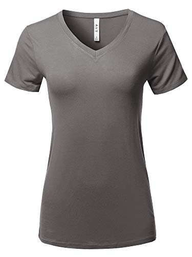 Basic Solid Premium Rayon Short Sleeve V-Neck T Shirt Mid Grey Size (Definition Fitted T-shirt)