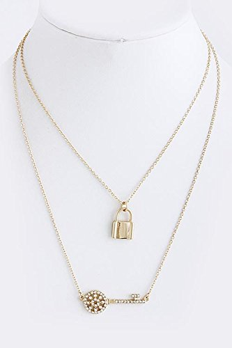 KARMAS CANVAS TWO CHAINZ KEY LOCK NECKLACE (Gold) (Lock And Key Costume)