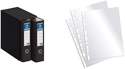 Dohe Archicolor Módulo 2 archivadores A4, color negro + Plus Office EH303A-8/FC Fundas multitaladro folio-cristal, 90 micras, 100 unidades, transparente: Amazon.es: Oficina y papelería