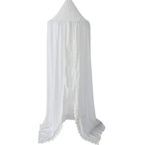 Kukakoo Fashion 240cm Kids Baby Room Bed Curtain Pointed Dome Lace Chiffon Canopy Mosquito Net - White