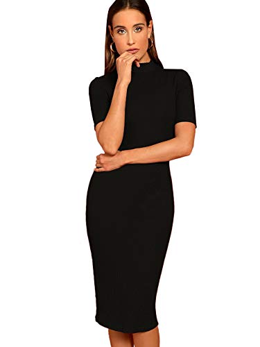 SheIn Women's Short Sleeve Elegant Sheath Pencil Dress Large Mock Neck Black